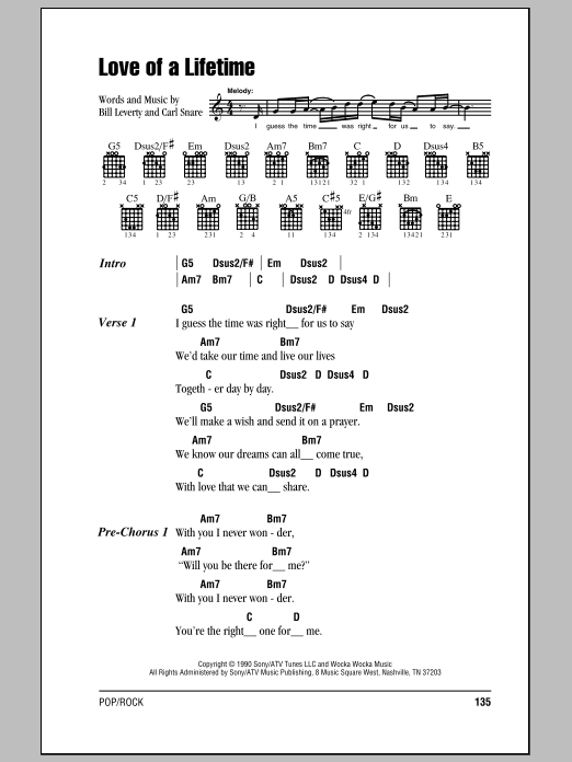 Love Of A Lifetime Sheet Music