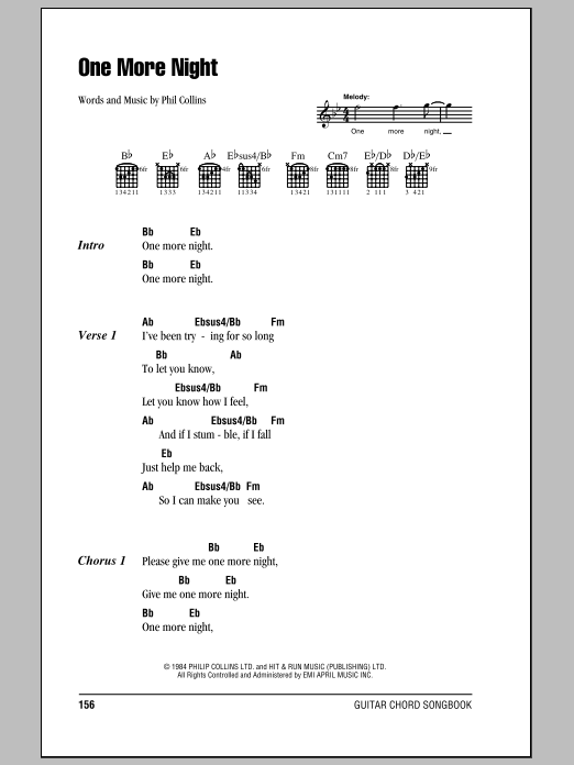One More Night Sheet Music