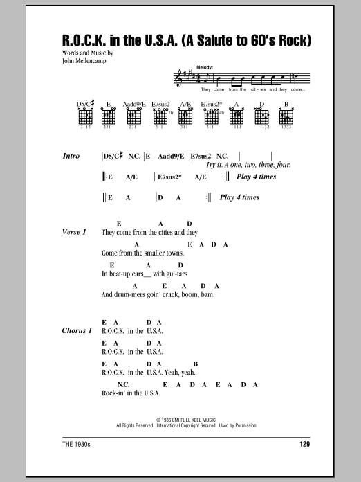 R.O.C.K. In The U.S.A. (A Salute To 60's Rock) Sheet Music