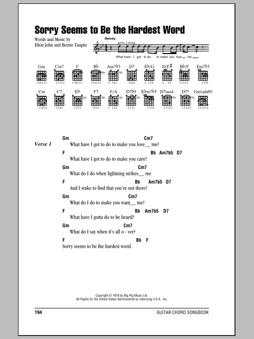 Guitar guitar chords sorry : Sorry Seems To Be The Hardest Word by Elton John - Guitar Chords ...