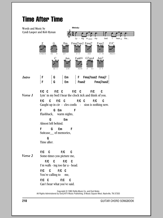 Time After Time by Cyndi Lauper - Guitar Chords/Lyrics - Guitar Instructor