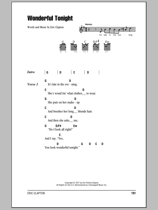 Wonderful Tonight Sheet Music