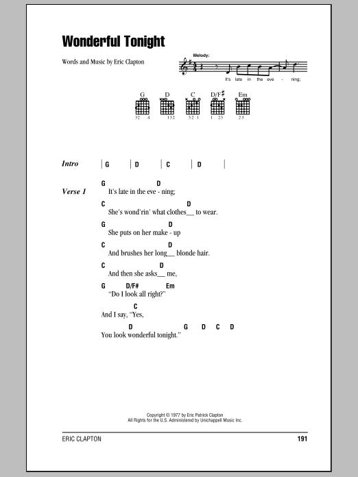 Wonderful Tonight (Guitar Chords/Lyrics)