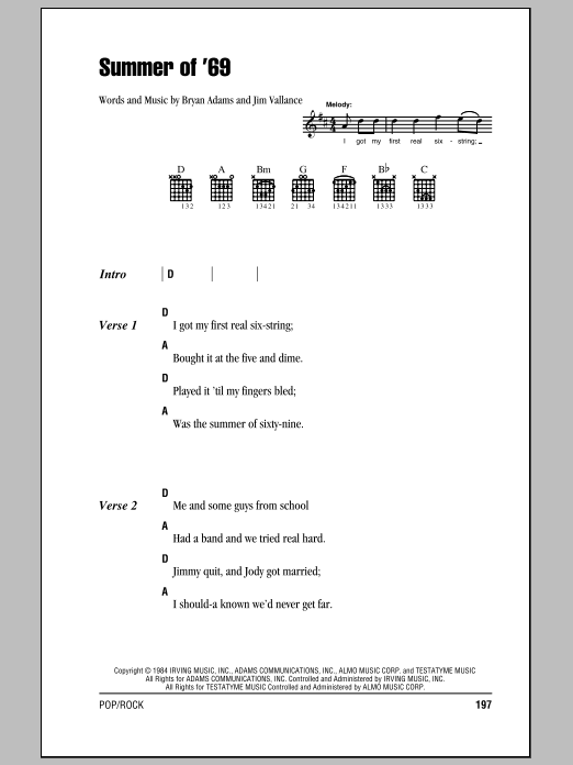 Summer Of \'69 sheet music by Bryan Adams (Lyrics & Chords – 81550)