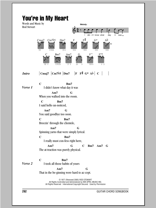 You\'re In My Heart by Rod Stewart - Guitar Chords/Lyrics - Guitar ...