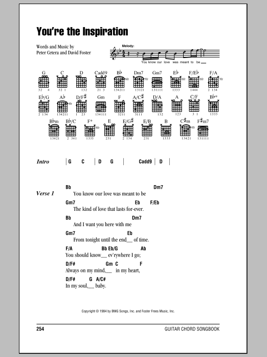 YOU´RE THE INSPIRATION Chords - Chicago | E-Chords