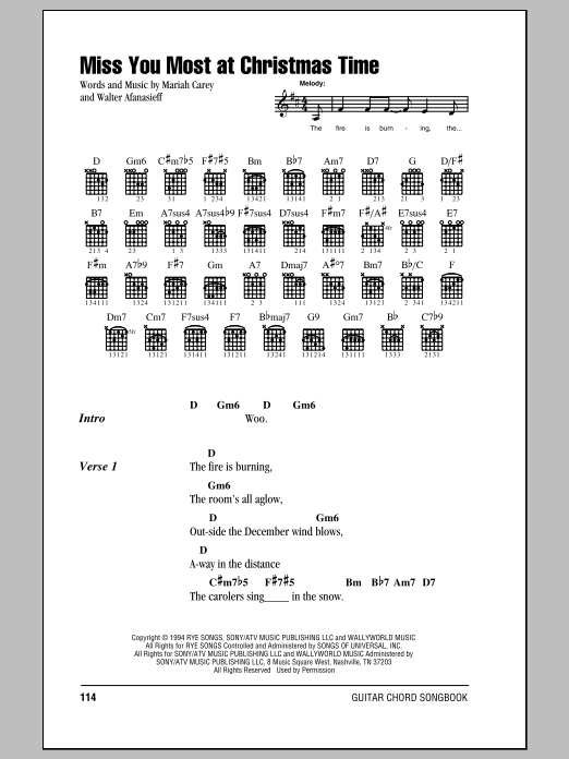 Miss You Most At Christmas Time Sheet Music