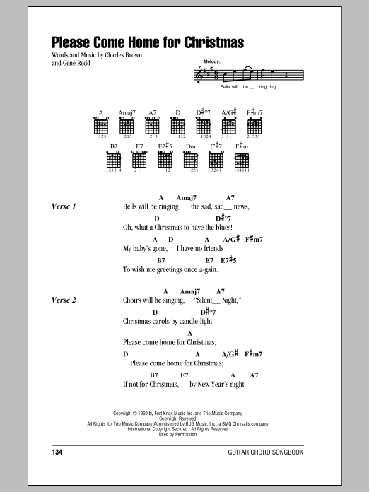 Please Come Home For Christmas Sheet Music Eagles Lyrics Chords