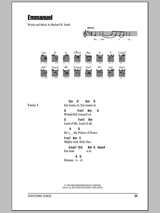 Emmanuel by Michael W. Smith - Guitar Chords/Lyrics - Guitar Instructor