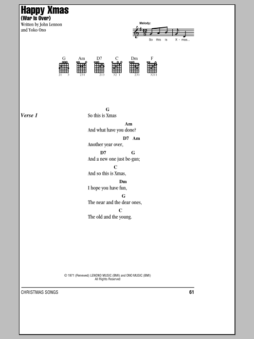 Happy Xmas (War Is Over) Sheet Music | John Lennon | Lyrics & Chords