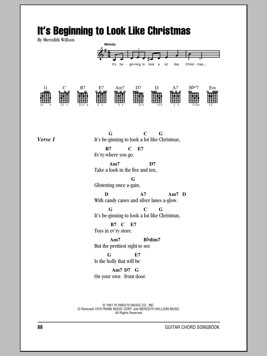 It's Beginning To Look Like Christmas (Guitar Chords/Lyrics)