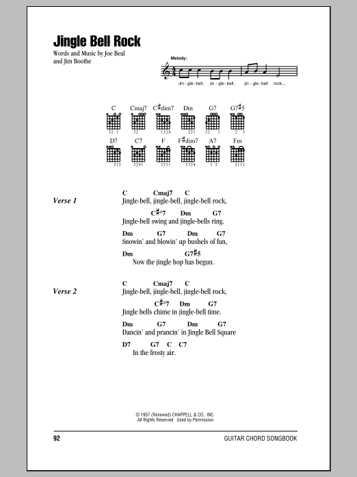Jingle Bell Rock Sheet Music By Bobby Helms Lyrics Chords 80766