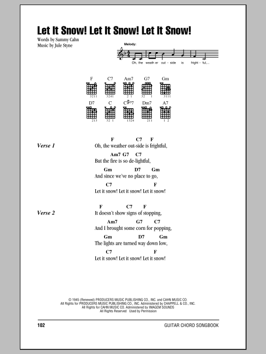 Let It Snow Let It Snow Let It Snow By Sammy Cahn Guitar Chords