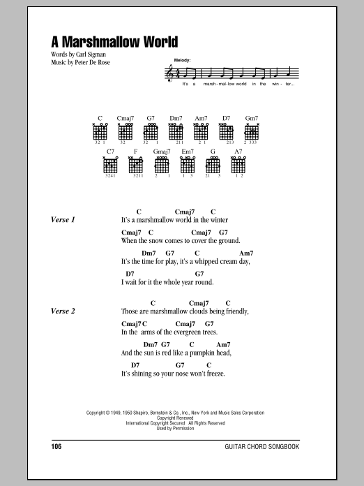 A Marshmallow World by Bing Crosby - Guitar Chords/Lyrics - Guitar ...