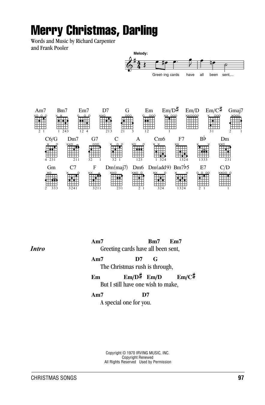 Merry Christmas, Darling Sheet Music | Carpenters | Lyrics & Chords