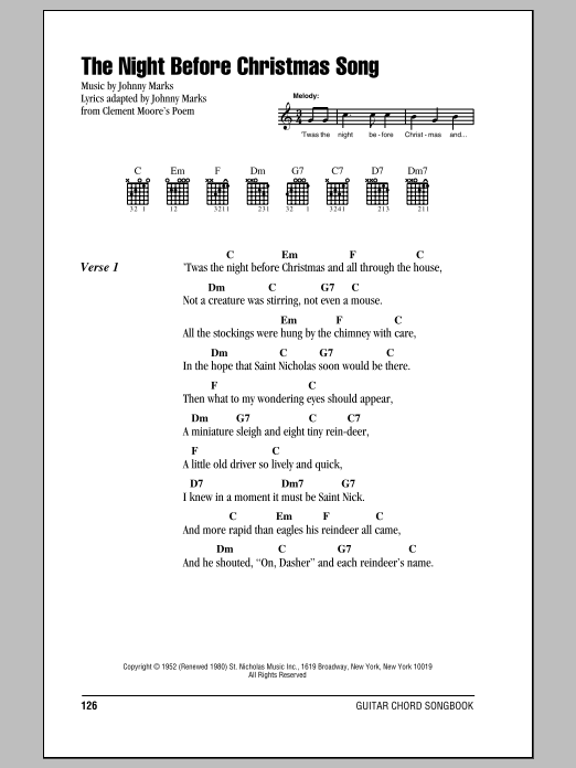 The Night Before Christmas Song (Guitar Chords/Lyrics)