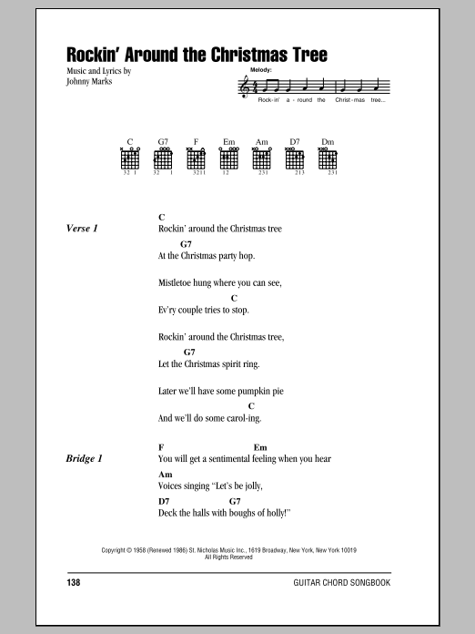 Rockin' Around The Christmas TreeBrenda Lee Guitar Chords/Lyrics - Rockin' Around The Christmas Tree By Brenda Lee Piano, Vocal & Guitar  (Right-Hand Melody) Digital Sheet Music