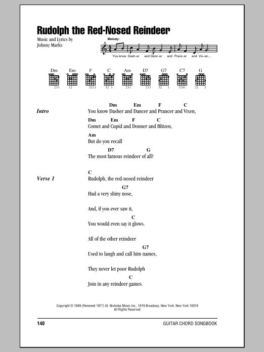 Rudolph The Red-Nosed Reindeer by Johnny Marks - Guitar Chords ...