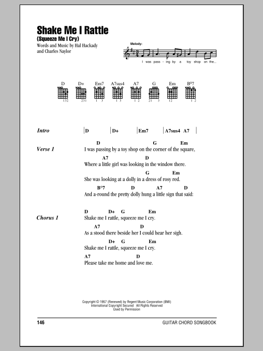 Shake Me I Rattle Squeeze Me I Cry By Marion Worth Guitar Chords