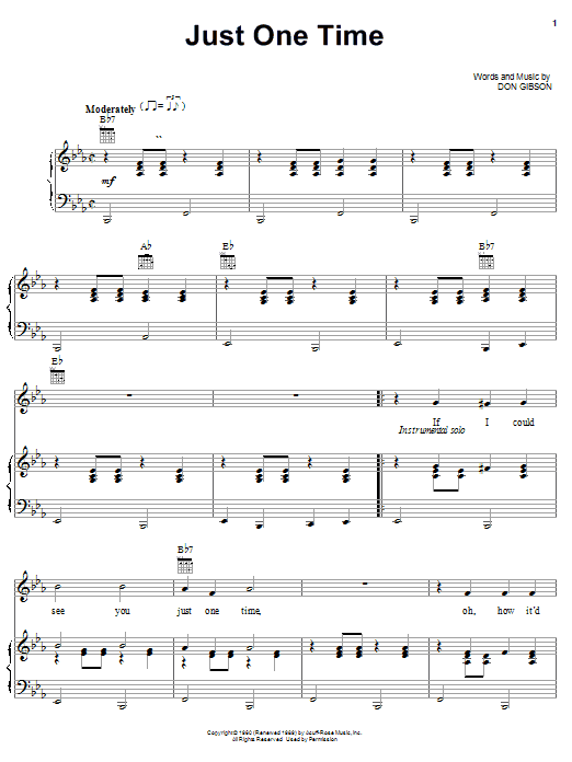 Just One Time (Piano, Vocal & Guitar (Right-Hand Melody))