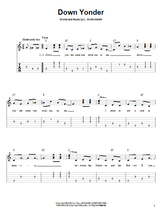 Tablature guitare Down Yonder de L. Wolfe Gilbert - Tablature Guitare