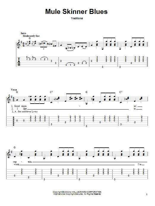 Tablature guitare Mule Skinner Blues de Jimmie Rodgers - Tablature Guitare