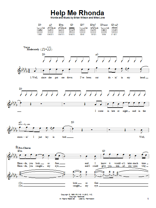 Tablature guitare Help Me Rhonda de The Beach Boys - Autre