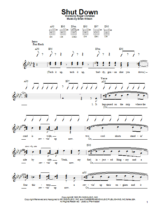 Tablature guitare Shut Down de The Beach Boys - Autre