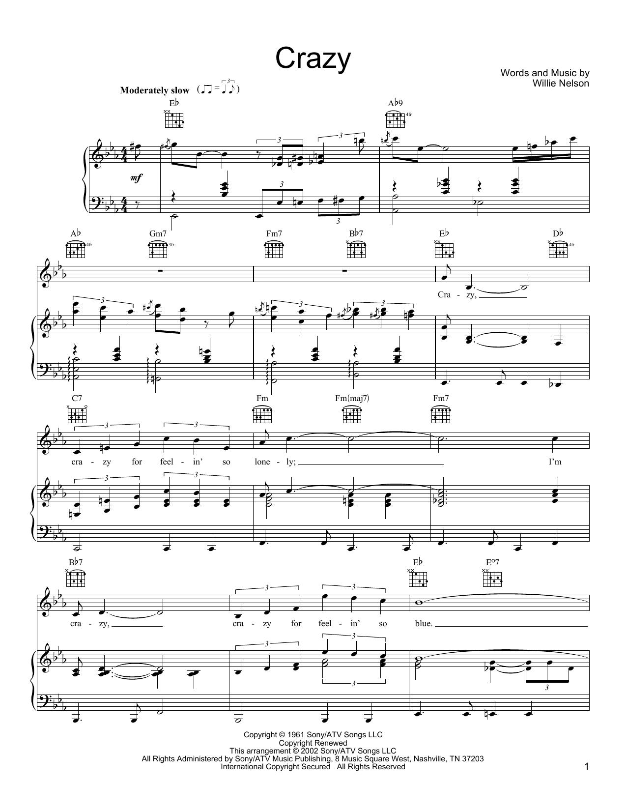 Partition piano Crazy de Willie Nelson - Piano Voix Guitare (Mélodie Main Droite)