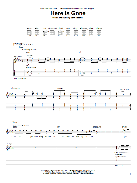Tablature guitare Here Is Gone de Goo Goo Dolls - Tablature Guitare