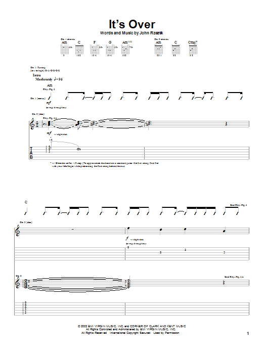 Tablature guitare It's Over de Goo Goo Dolls - Tablature Guitare