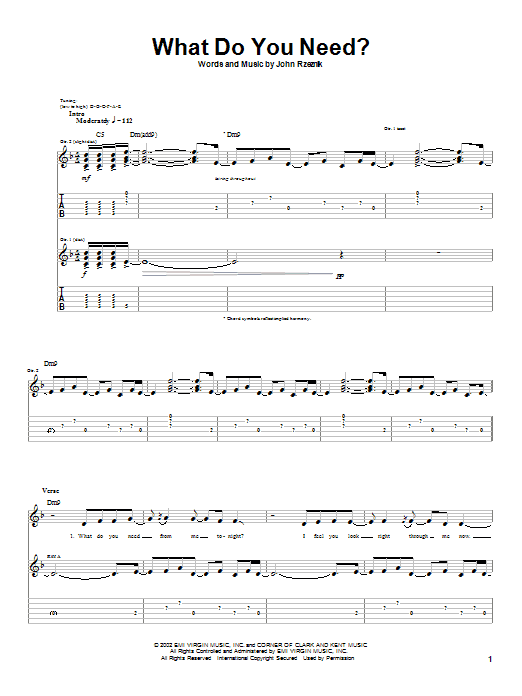 What Do You Need? (Guitar Tab)