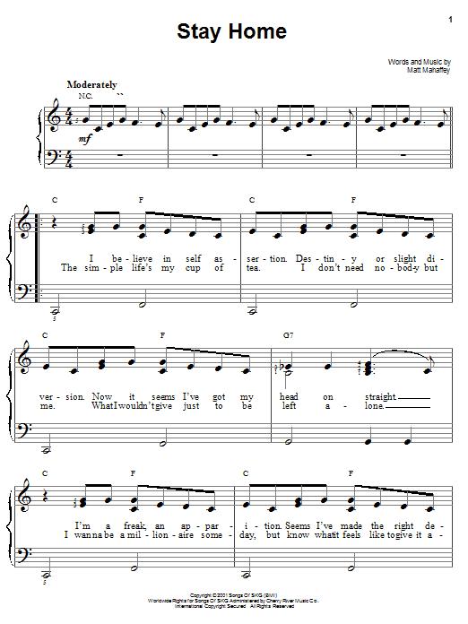 Partition piano Stay Home de Self - Piano Facile