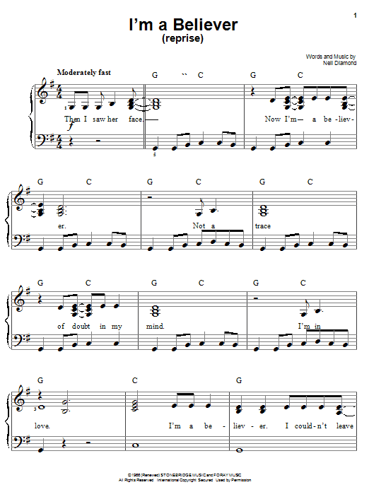 I'm A Believer (Reprise) Sheet Music