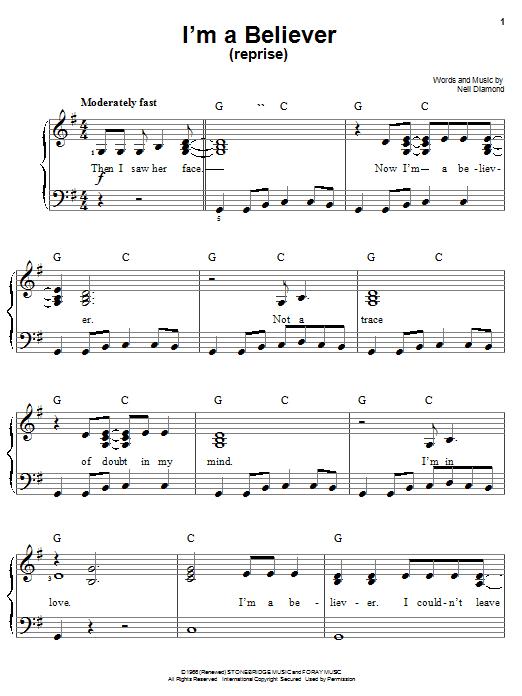 Partition piano I'm A Believer (Reprise) de Smash Mouth - Piano Facile