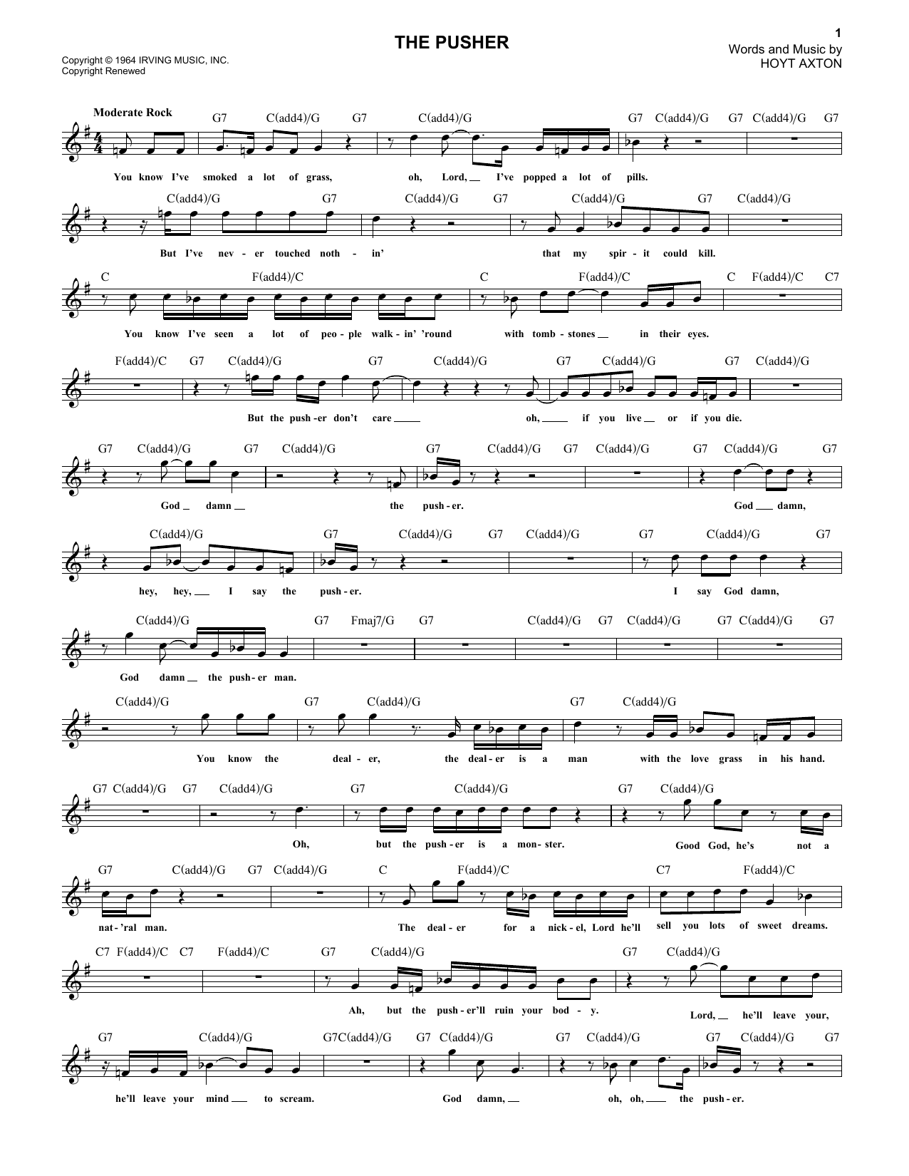 The Pusher Sheet Music