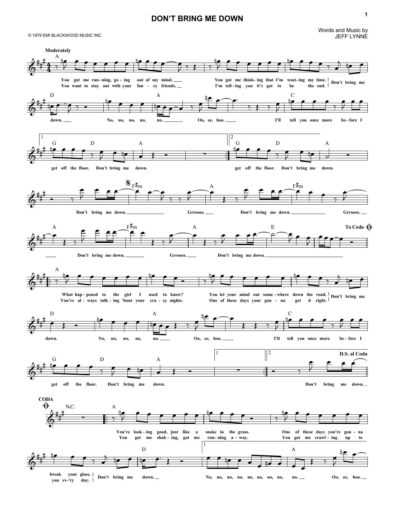 Don't Bring Me Down (Lead Sheet / Fake Book)
