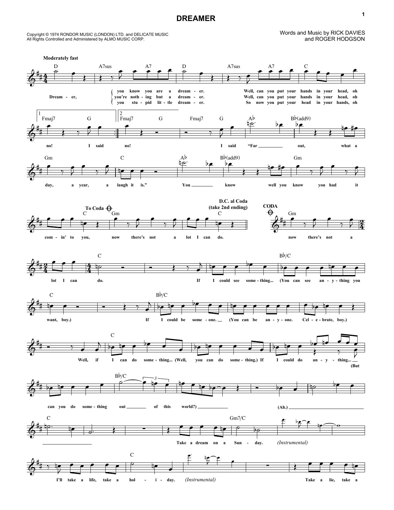 Dreamer (Lead Sheet / Fake Book)