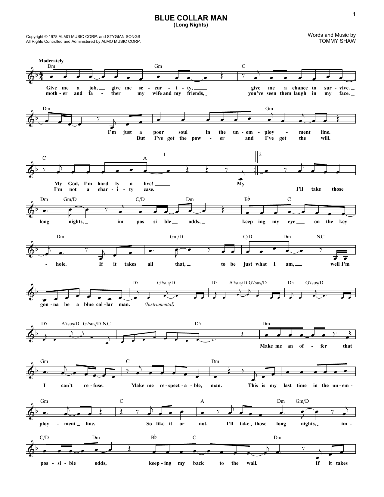 Blue Collar Man (Long Nights) (Lead Sheet / Fake Book)
