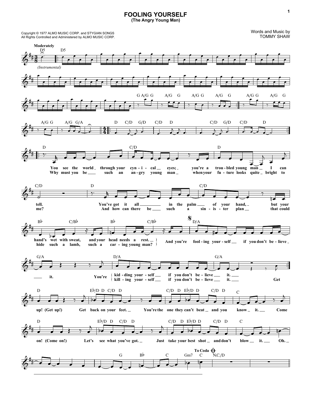 Fooling Yourself (The Angry Young Man) (Lead Sheet / Fake Book)