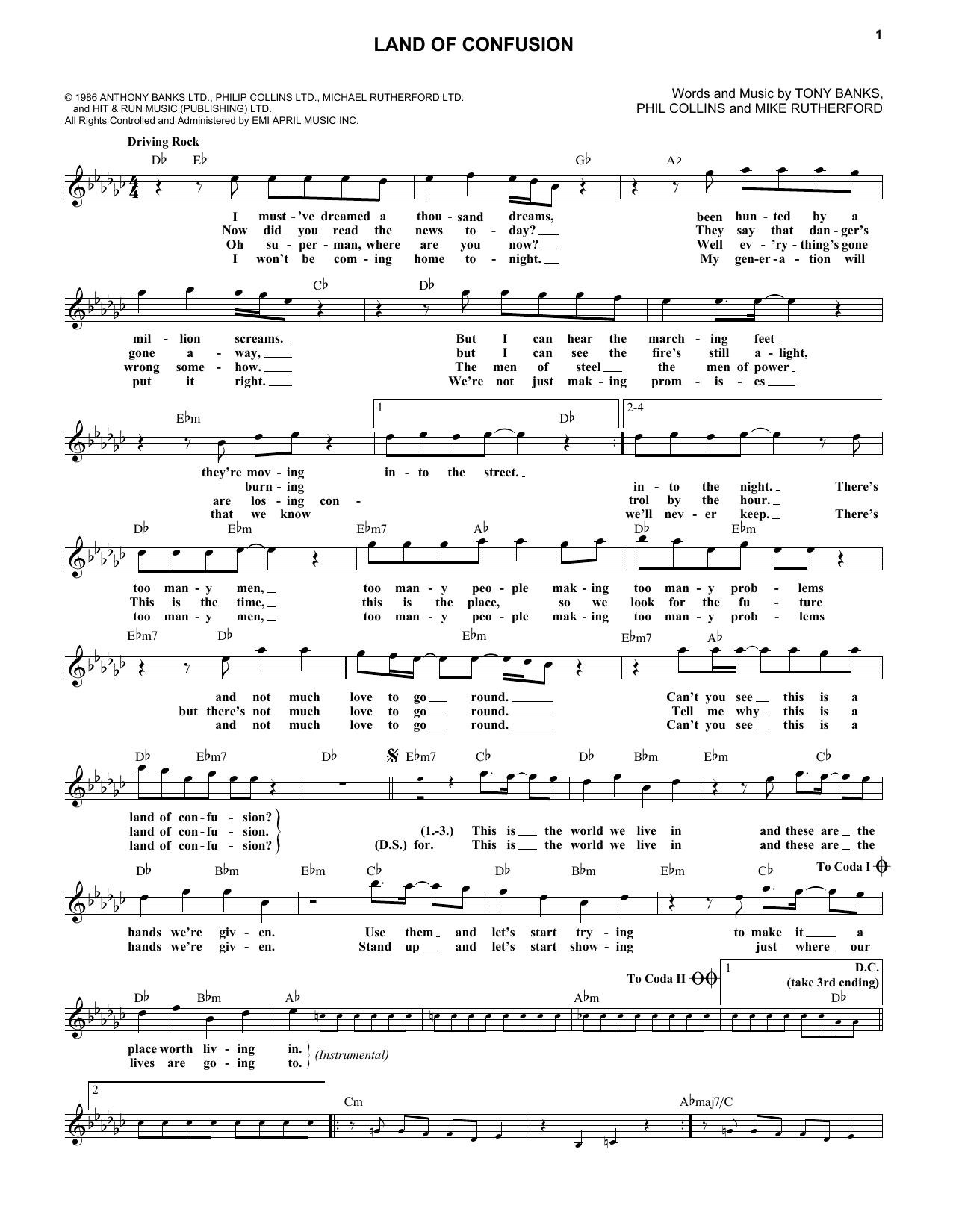 Land Of Confusion (Lead Sheet / Fake Book)