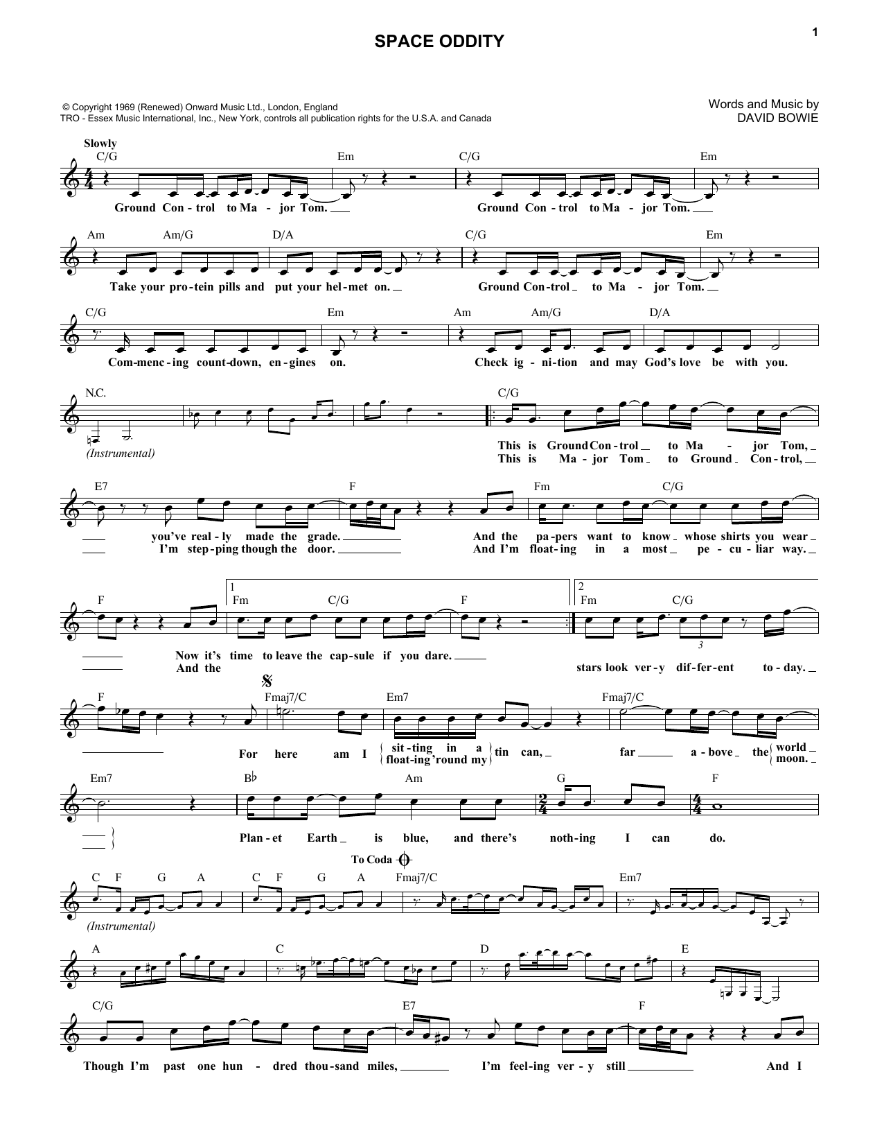 Space Oddity (Lead Sheet / Fake Book)