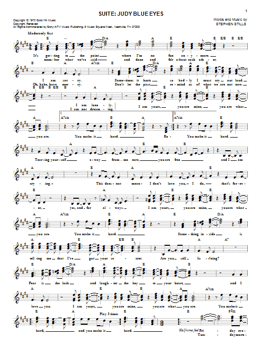 Suite: Judy Blue Eyes (Lead Sheet / Fake Book)