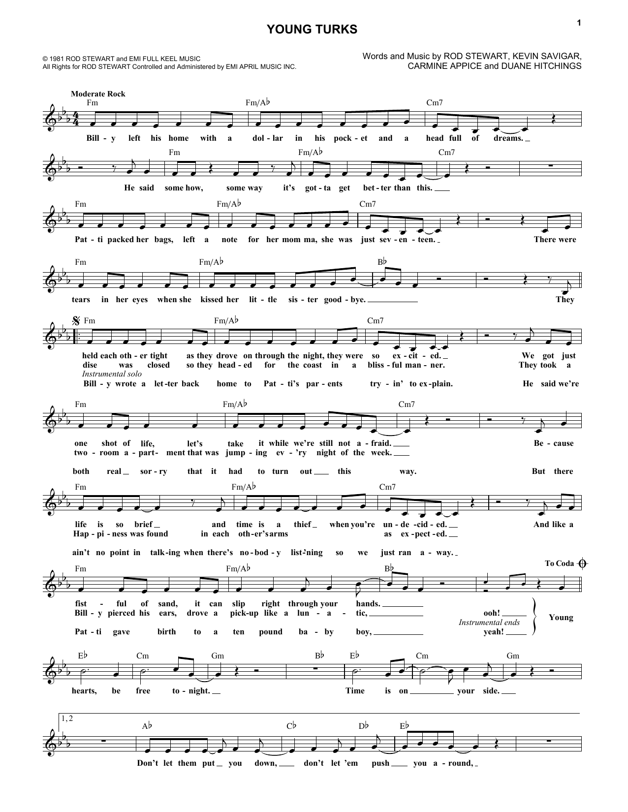 Young Turks (Lead Sheet / Fake Book)
