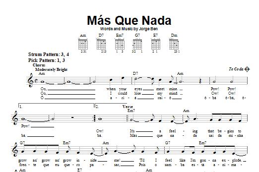 Tablature guitare Mas Que Nada de Sergio Mendes - Tablature guitare facile