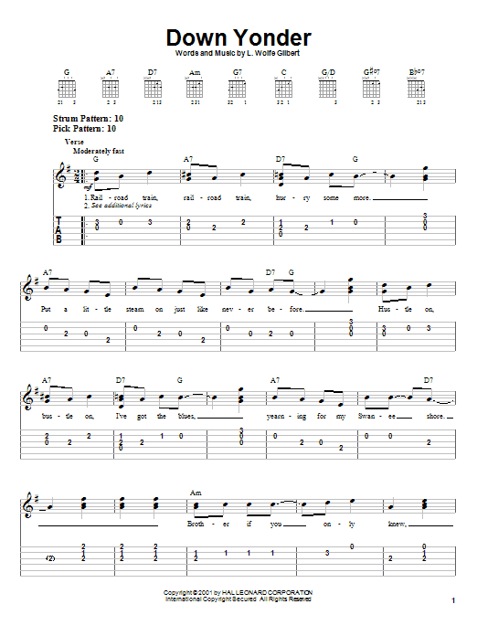 Tablature guitare Down Yonder de L. Wolfe Gilbert - Tablature guitare facile