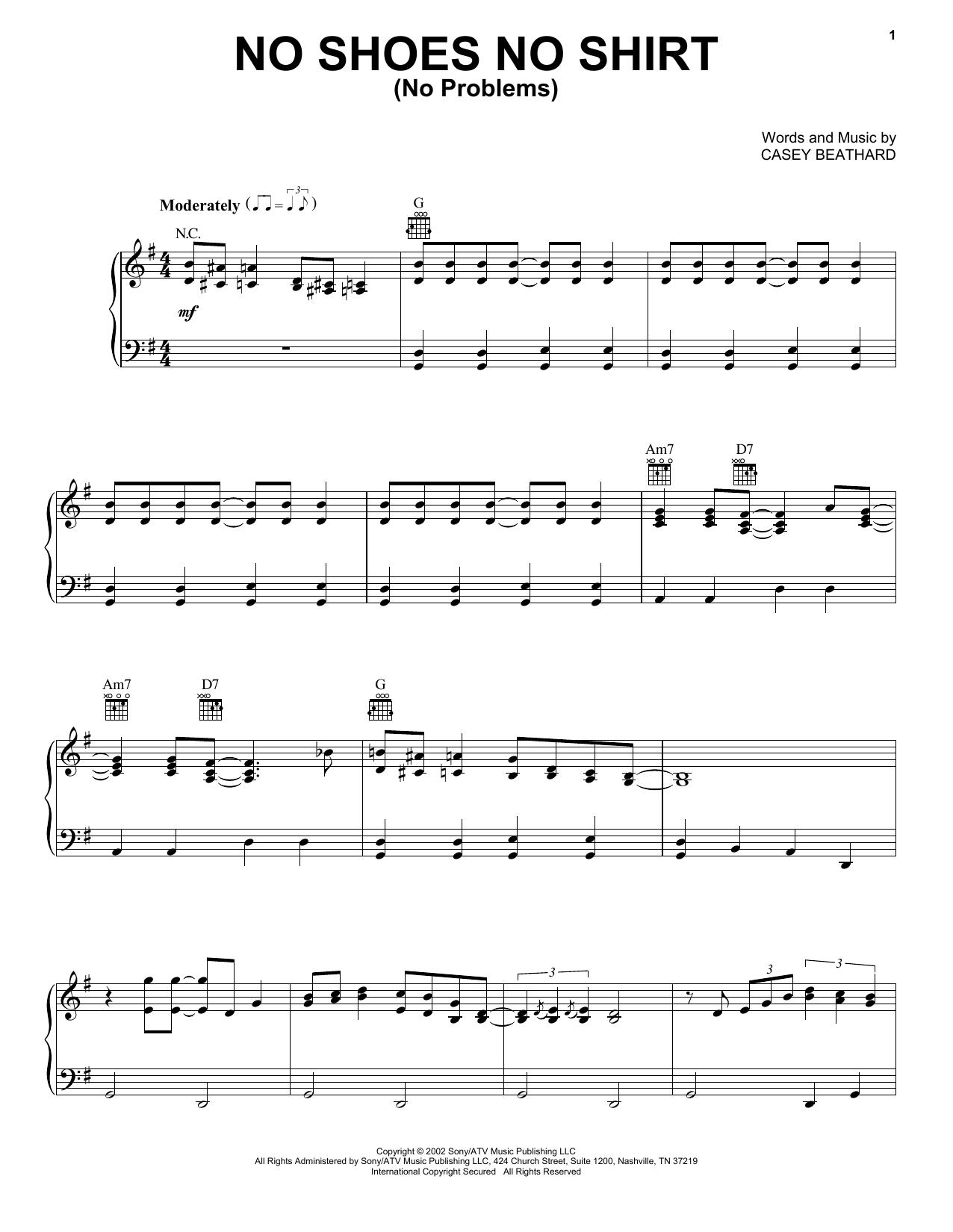 No Shoes No Shirt (No Problems) (Piano, Vocal & Guitar (Right-Hand Melody))