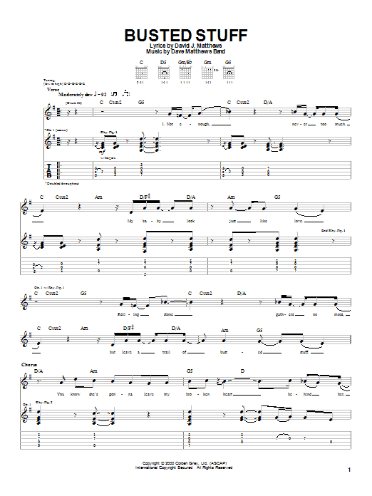 Tablature guitare Busted Stuff de Dave Matthews Band - Tablature Guitare