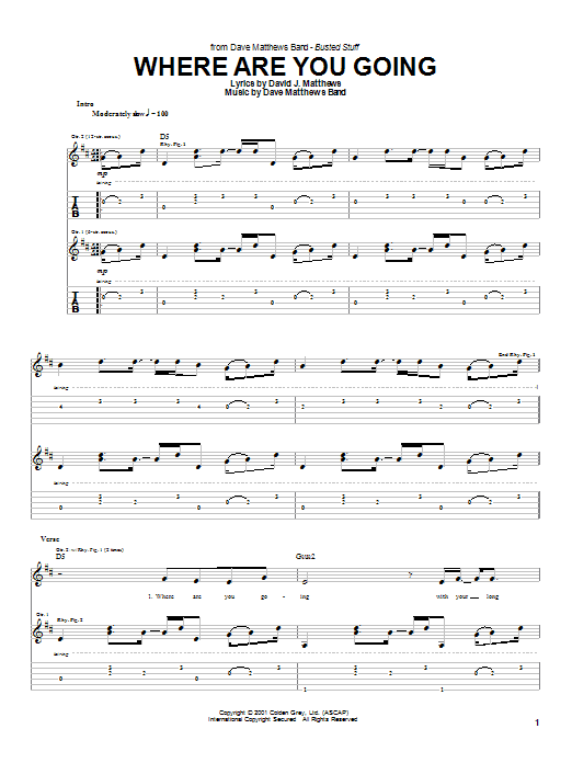 Tablature guitare Where Are You Going de Dave Matthews Band - Tablature Guitare