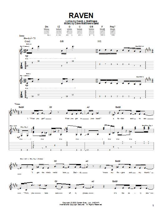 Tablature guitare Raven de Dave Matthews Band - Tablature Guitare